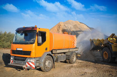 Truck on the asphalt plant Royalty Free Stock Photography