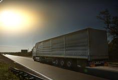 Truck on the asphalt road stock photo