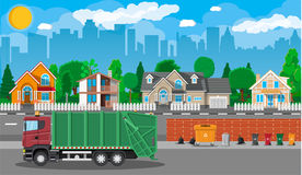 Urban cityscape with garbage car. Truck for assembling, transportation garbage. Car waste disposal. Can container, bag and bucket for garbage. Recycling and Stock Photo