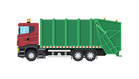 Truck for assembling and transportation garbage. Car waste disposal. Garbage recycling and utilization equipment. Waste management. Vector illustration in flat Royalty Free Stock Photography