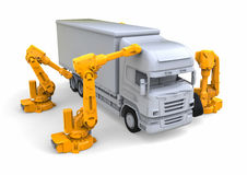 Truck assembly line. 3D render image representing a truck assembly line with robots vector illustration