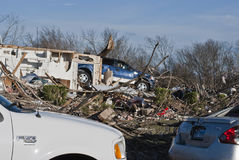 Truck Atop Destroyed Home After Tornado Royalty Free Stock Photography