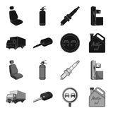 Truck with awning, ignition key, prohibitory sign, engine oil in canister, Vehicle set collection icons in black. Monochrome style vector symbol stock Royalty Free Stock Photo