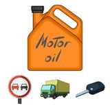 Truck with awning, ignition key, prohibitory sign, engine oil in canister, Vehicle set collection icons in cartoon style Royalty Free Stock Photo