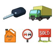 Truck with awning, ignition key, prohibitory sign, engine oil in canister, Vehicle set collection icons in cartoon style. Vector symbol stock illustration Royalty Free Stock Photography