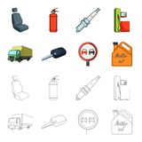 Truck with awning, ignition key, prohibitory sign, engine oil in canister, Vehicle set collection icons in cartoon. Outline style vector symbol stock Royalty Free Stock Photo