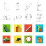 Truck with awning, ignition key, prohibitory sign, engine oil in canister, Vehicle set collection icons in outline,flet. Style vector symbol stock illustration Stock Images