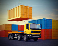 Truck on background of stack of freight containers. 3d illustration of orange truck on background of stack of freight containers Stock Image