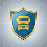 Truck badge design with bursting background Stock Images