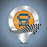 Truck badge with metallic pointer and race flag Royalty Free Stock Image