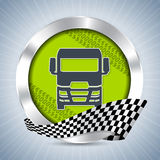 Truck badge with tire tracks and race flag ribbon Stock Photo