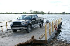 Truck on the barge Royalty Free Stock Photography