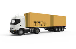 Truck with big cardboard box Royalty Free Stock Photography