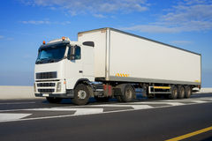 Truck with big white trailer Royalty Free Stock Photo