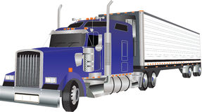 Truck. A Blue American Truck hauling a Refrigerated Trailer Royalty Free Stock Images