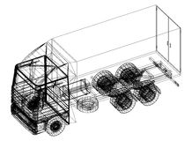 Truck blueprint – 3D perspective Royalty Free Stock Image