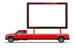 Truck board. Large blank white LCD transported by a long unusual truck; isolated on white background; Place your images or your text on the blank screen Royalty Free Stock Images