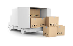 Truck with boxes. Delivery metaphor. Separated on white Royalty Free Stock Photography
