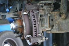 Truck brakes 1. A view of a brake rotor on a truck Stock Photos