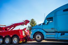 Truck breakdown and towing in Seattle Washington. USA stock photo