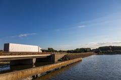 Truck on the bridge Stock Image