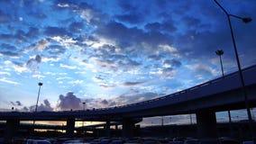 Truck on the bridge. At sunset stock footage