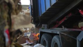 Truck brought the waste paper. To the garbage processing plant. Unloading of recyclable materials in the warehouse of the waste processing plant. Waste paper stock video