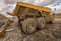 Truck on a building site with mud and water stock photo