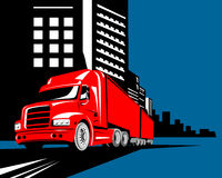 Truck with buildings Royalty Free Stock Photos