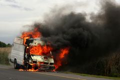 Truck Burning. Creating large flames  and smoke Royalty Free Stock Image
