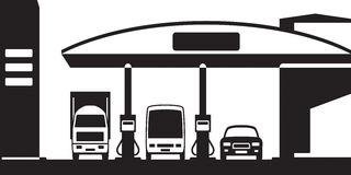 Truck, bus and car at gas station Stock Images