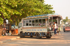 Truck-bus. A large truck, converted into a bus for the conveyance of beach-goers from inland, Pattaya, Thailandn Stock Images