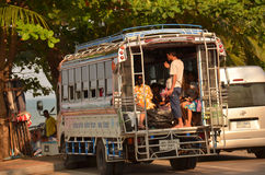 Truck-bus. A large truck, converted into a bus for the conveyance of beach-goers from inland, Pattaya, Thailandn Stock Photography