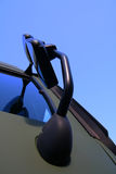 Truck cabin side view. Mirror closeup view on a truck cabin Royalty Free Stock Image