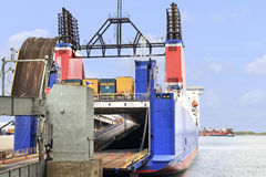 Truck and car ferry boat royalty free stock image