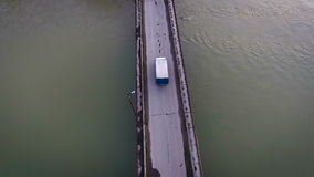 Truck car goes over the bridge. Ambulance goes over the bridge stock video footage
