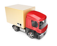 Truck with cardboard box Stock Image