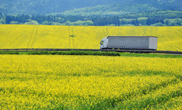 Truck cargo. Truck driving through country road, cargo, transport or transportation. Background stock photo
