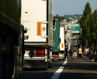 TRUCK CARGO BIG TRAFFIC JAM. French national ten motorway at Angouleme blocked for long time Royalty Free Stock Photo