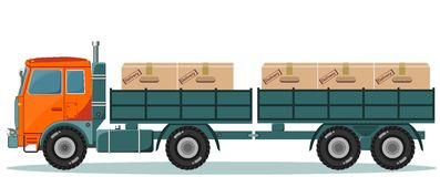 Truck With Cargo Boxes on Trailer, Vector Stock Images