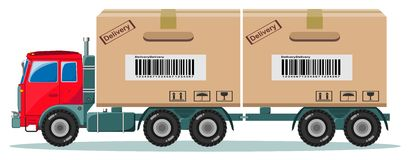 Truck With Cargo Boxes on Trailer, Vector Royalty Free Stock Photo