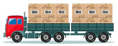 Truck With Cargo Boxes on Trailer, Vector Stock Photos