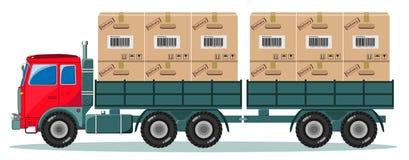 Truck With Cargo Boxes on Trailer, Vector Stock Photos