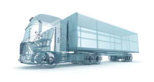 Truck with cargo container, wire model Stock Photo
