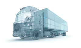 Truck with cargo container, wire model. Royalty Free Stock Photo