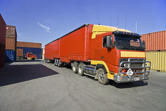 Truck and cargo containers at port Royalty Free Stock Images