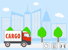 Truck with cargo on the road on background silhouette of the big city. Logistics services. Modern  illustration concepts of Stock Photos