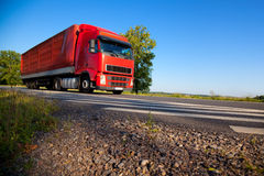 Truck cargo transportation. Wide angle view Royalty Free Stock Photos