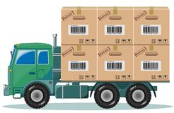 Truck With Cargo,Vector Illustration Royalty Free Stock Image