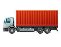 Truck with cargo. Truck with white cab delivery goods in red container. Easy to recolor cab, tires and parts. Vector illustration Royalty Free Stock Image